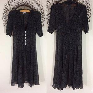 Vintage Dresses - Vintage Sheer Button Up Dress Cover 90's Swirls